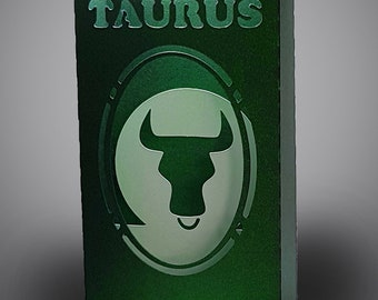 Taurus Zodiac box card with envelope template