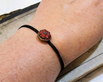simple and lightweight - thin bracelet black red - terracotta and suede, handmade, Bohemian chic, spring summer
