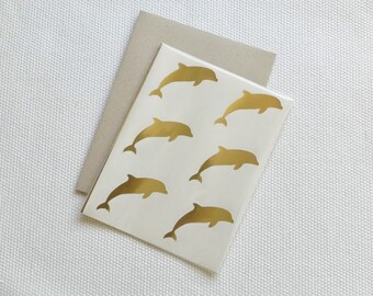 Dolphin Stickers / Labels in Gold Foil or Kraft