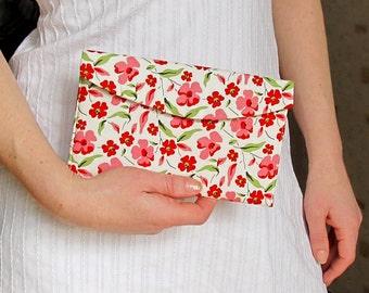 Red bridesmaid clutch, Floral wedding purse, Bridal clutch, Summer wedding clutch, Pink makeup bag, Wedding favor gift, Mother Day gift