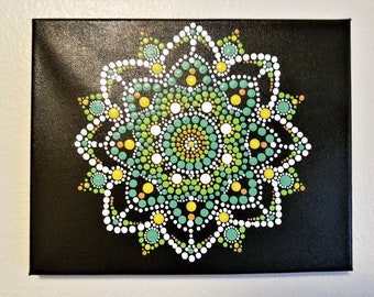 Green and Yellow Mandala on Canvas, 8x10in