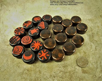 Tribal themed hand painted bottle cap checkers set. Free shipping to US.
