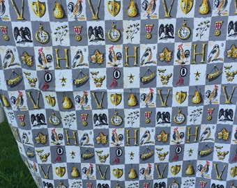 Almost 2 Yards of Vintage Gray, White and Yellow Barkcloth Era Nubby Fabric