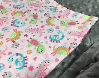 Pink Dinos Minky Blanket