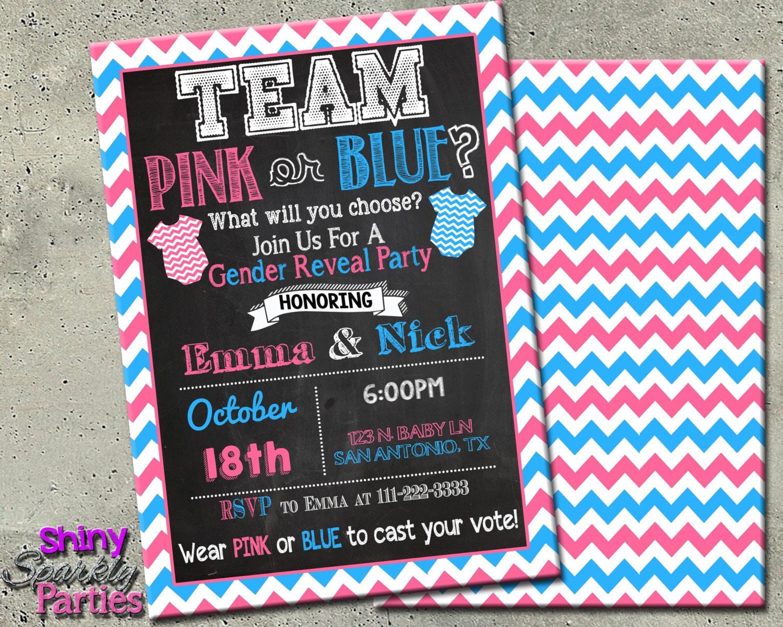 GENDER REVEAL INVITATION Team Pink or Blue Gender Reveal