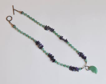Green Aventurine and Amethyst with moon pendant