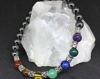 Geniune Gemstone Chakra Bracelet Hematite, Amethyst, Azurite, Sodalite, Green Aventurine, Citrine, Tiger Eye, Red Agate
