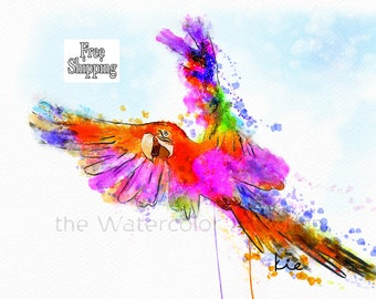 Watercolour Bird Paintings Parrot Painting Watercolor bird prints parrot wall art bird watercolor prints parrot art prints animal watercolor