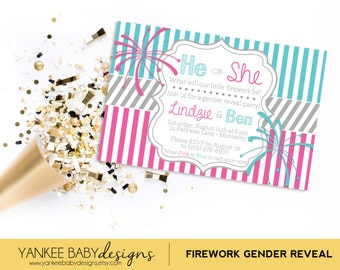 Firework - Gender Reveal Invitation