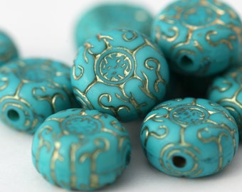 Acrylic Beads Etched Turquoise Gold Acrylic Coin Flat Round 17mm (10)