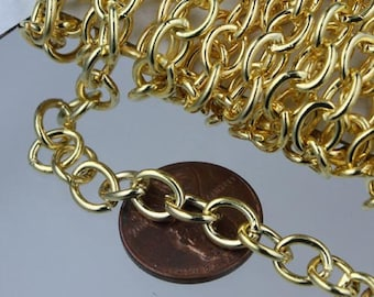 30 ft of Gold Plated Big Heavy Cable chain - 7.8x6.3mm 1.4mm unsoldered links