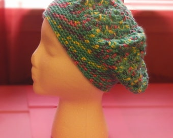 Slouchy Multicolor Beret | Turquoise Pink Purple Yellow Beret | Slouchy Beanie | Slouchy Hat
