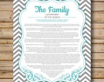 Family Proclamation, Chevron Style, DIGITAL FILE Only, 8x10 & 11x14 Included, LDS Printable, Proclamation to the World, Mormon Art