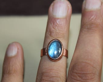 labradorite ring with recycled copper - copper ring - handmade copper ring - size 6 3/4