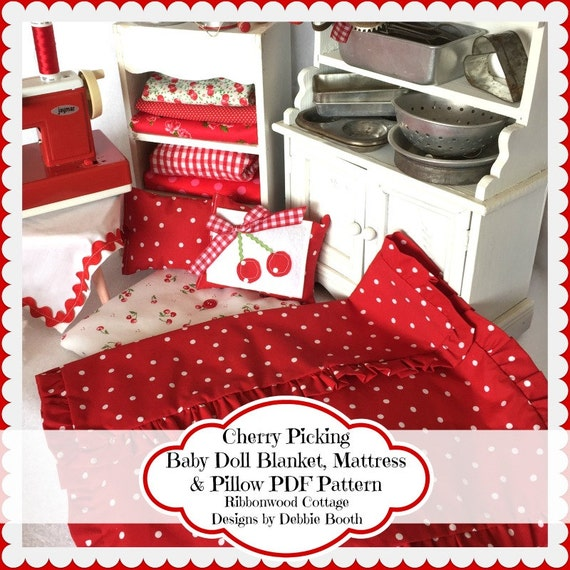 Sewing Pattern PDF Pattern Cherry Baby Doll Quilt, Mattress and Pillows Pattern-auto download
