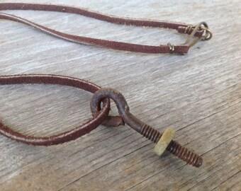 Hardware Jewelry - Eye Screw and Nut Necklace - Leather Screw Necklace