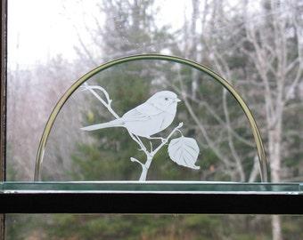 Chickadee Clear Glass Sculpture, Sandblasted Chickadee design on clear glass,  Sculptural Glass, Bird sculptural art, glass art,  SC-100