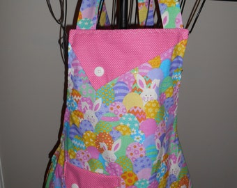 Glittery Easter Bunnies and Eggs - Women's Apron - Ruffle - Pocket - Religious - Dyed Eggs - Easter Eggs - mother daughter