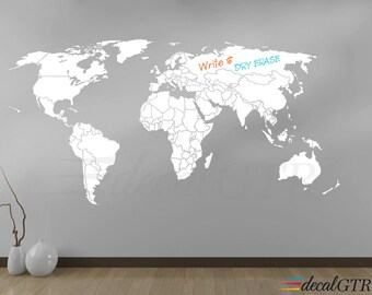 World map wall decal world map decal with antarctica world world map wall decal countries borders outlines world map decal dry erase chalkboard gumiabroncs Gallery