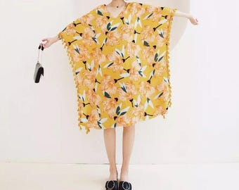 May Flower Collection yellow floral blossom cotton dress with tassels