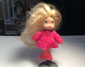 Very Rare 1979 Sea Wees Mermaid Doll with Pink Faux Leather Jacket, Hong Kong Vintage Collectible Toy, Blonde Mermaid
