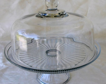 Anchor Hocking Domed Cake Plate, Vintage