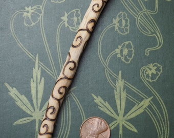 Wild Rose Spiral Wand Pendant - For Love Magics - Pagan, Wicca, Witchcraft - Hand-carved