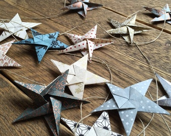 Origami Star Garland ~ Handmade Paper ~ Home Decor ~ Photo Props