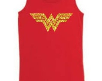 Girls Wonder Woman Glitter Next Level Tank Top Kid's