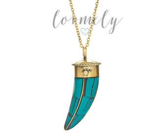 Turquoise mosaic Tibetan horn tusk necklace - bohemian necklace