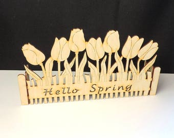 Hello spring stand fence with tulips for window sill from wood for painting