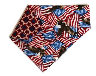 Dog Bandana, July 4th American Flag Dog Bandana, Dog Collar Bandana, Reversible Dog Bandana, Cat Bandana, No Tie Bandana, Dog Gift, Cat Gift