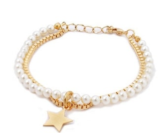 Made to order - Pearls & Gold Bracelet, Pearls Bracelet, Personalized Jewelry, Bridesmaid Gifts, Bridal Jewelries, Gifts under 35