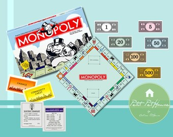 Printable 1:12 Miniature Scale Monopoly Board Game Set with Box for Dollhouses, Nendoroid, Collectible, DIY Crafts