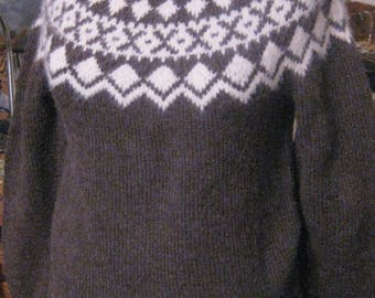 Brown And White Icelandic  Knit Sweater