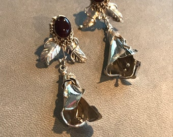 Vintage Sterling Silver Flower Drop Earrings Chalcedony Whimsical Leaf