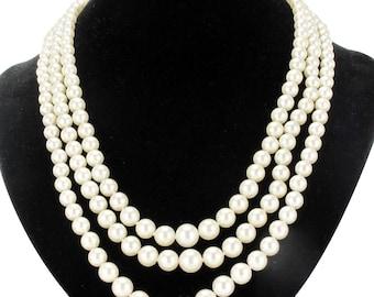 Vintage beaded necklace triple strand 18K rose Napoleon III classic