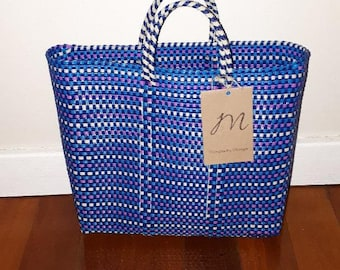 Mexican bag handmade from recycled plastic in bold colours