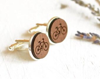Cyclist Gift - Bike Cufflinks, Bicycle Cufflinks, Wooden Bike Cufflinks, Cycling Gift, Gifts For Cyclists, Personalized Cufflinks