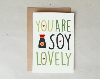 Cute Foodie Card, Cute Moms Day Card, Cute Valentine Card, Cute Anniversary, Sushi Card, Cute Food Puns Card, Soy Sauce, Food Cards, Foodies