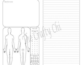 Male Pain Journal for TN, Traveler's Notebook, Midori- , Standard, Regular digital download Printable