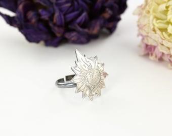Sacred heart ring - Heart ring - sterling silver ring - Handmade ring