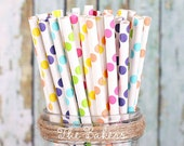 Girls Rainbow Polka Dot Paper Straws, Rainbow Party Straws, Retro Straws, Vintage Straws, Drinking Straws, Party Straws, Polka Dot (30 Ct)