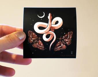 Vinyl Sticker - Snake Moon Moths - dark witchy totem