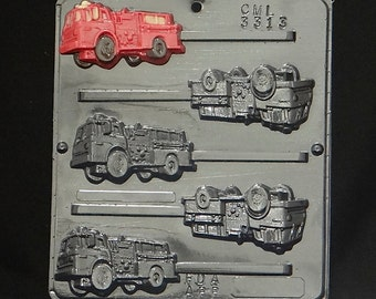 Fire Engine Lollipop Chocolate Candy Mold 3313