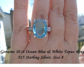 10 ct Ocean Blue & White Topaz Ring Size 8
