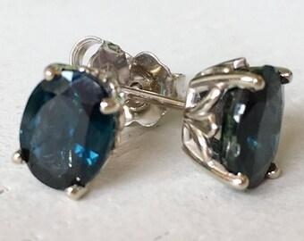Large Blue Green Sapphire Earrings 18k White Gold