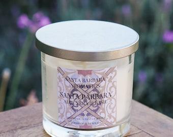 Aloe Vera & Basil Soy Candle by Santa Barbara Aromatics   Toxin Free   Aromatherapy   Hostess Gift   Gift For Women