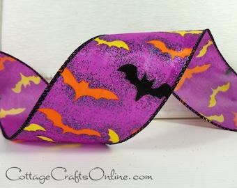 "Halloween Wired Ribbon, 2 1/2"", Bats on Glittered Purple Satin - THREE YARDS -  ""Bats Ville"" Craft Decor Wire Edged Ribbon"