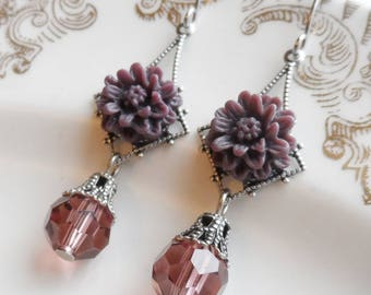 75% Off Price Sale, Aubergine Mum, Flower Earrings, Matching Czech Glass Bead, Antique Silver Filigree